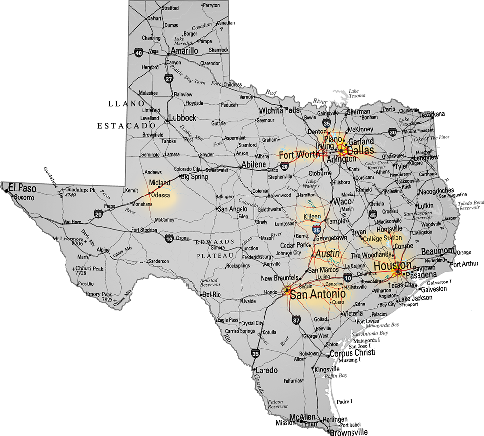 Texas By The Numbers - Mapa de texas